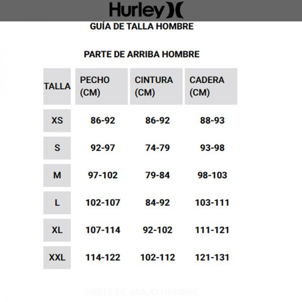 Licras hurley sizes chart